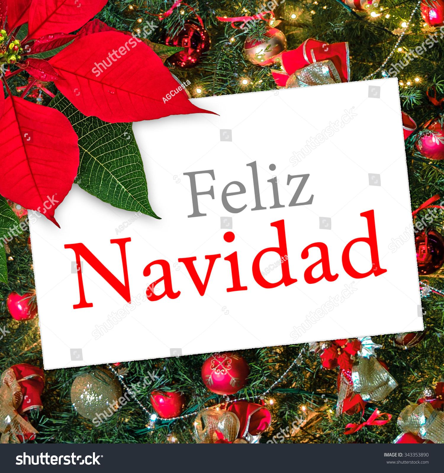 Christmas Greeting Card With Text Feliz Navidad Ribbon