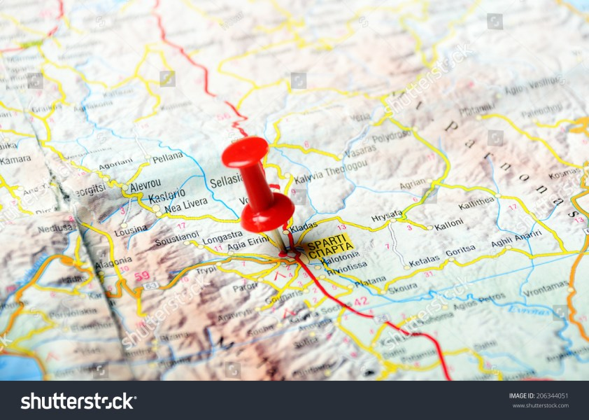 Close Sparta Greece Map Red Pin Stock Photo  Edit Now  206344051     Close up of Sparta  Greece map with red pin   Travel concept