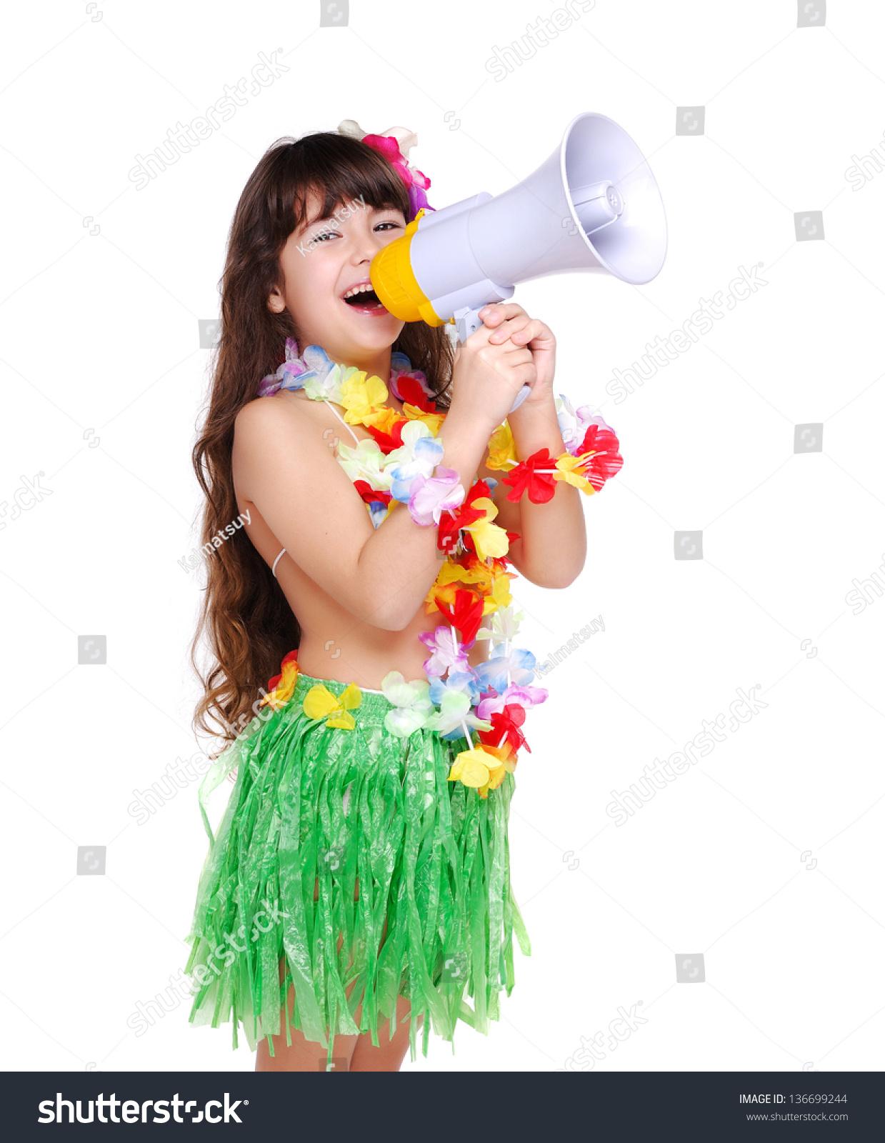 Closeup Portrait Of A Little Girl In Hawaiian Dress