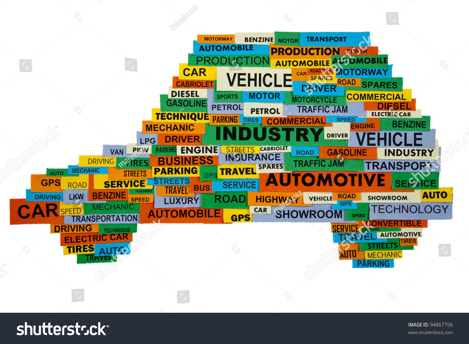 Cloud Words Describing Automotive Industry Presented Stock