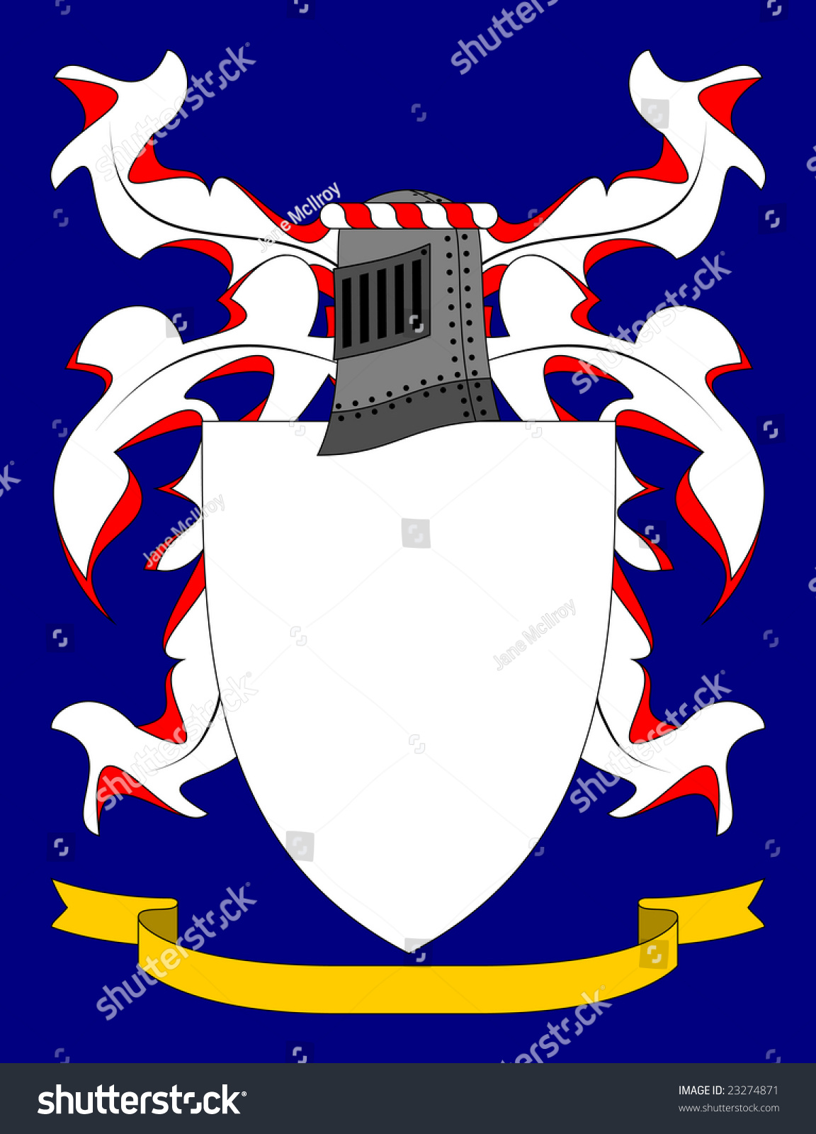 Coat Of Arms On A Blue Background Armorially Correct