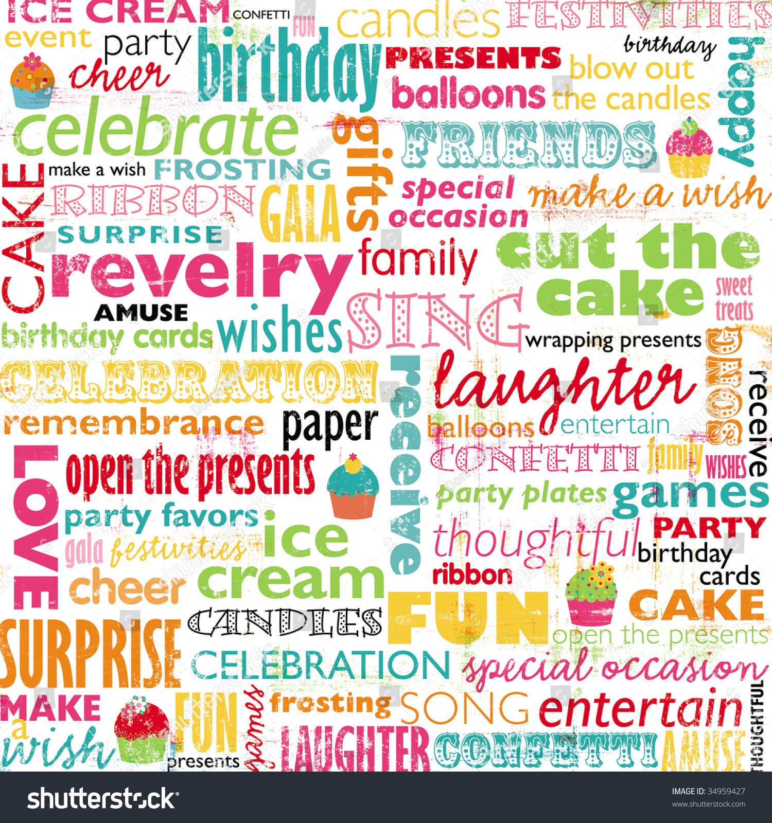Colorful Birthday Words Stock Illustration