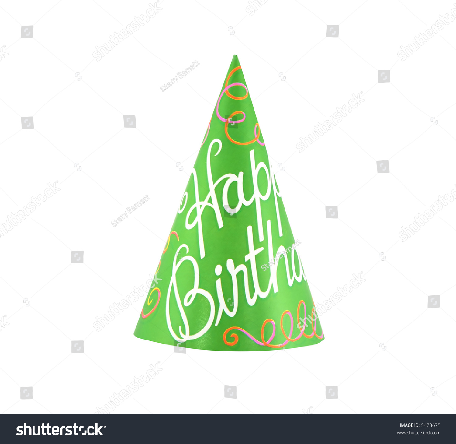 Colorful Party Hat With Cursive Writing Of Happy Birthday
