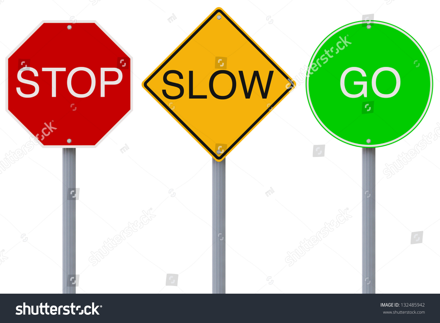 Colorful Stop Slow Go Road Signs Stock Illustration