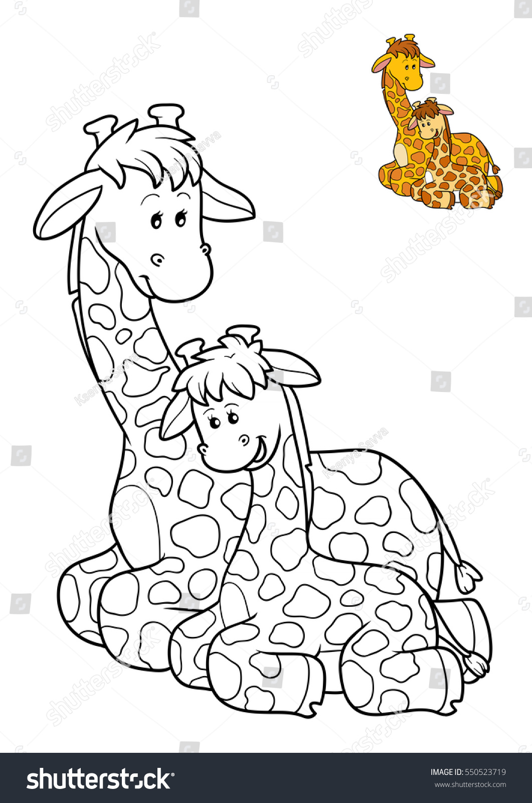 Coloring Book Children Giraffes Family Stock Illustration