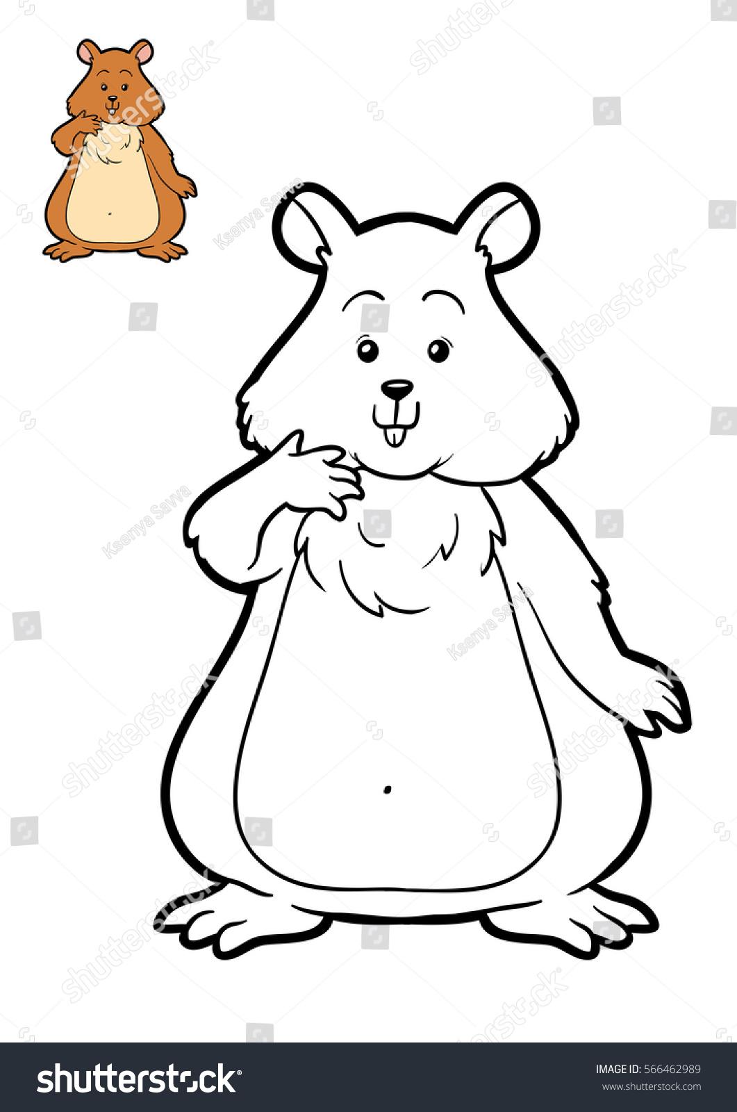 Coloring Book Children Hamster Stock Illustration