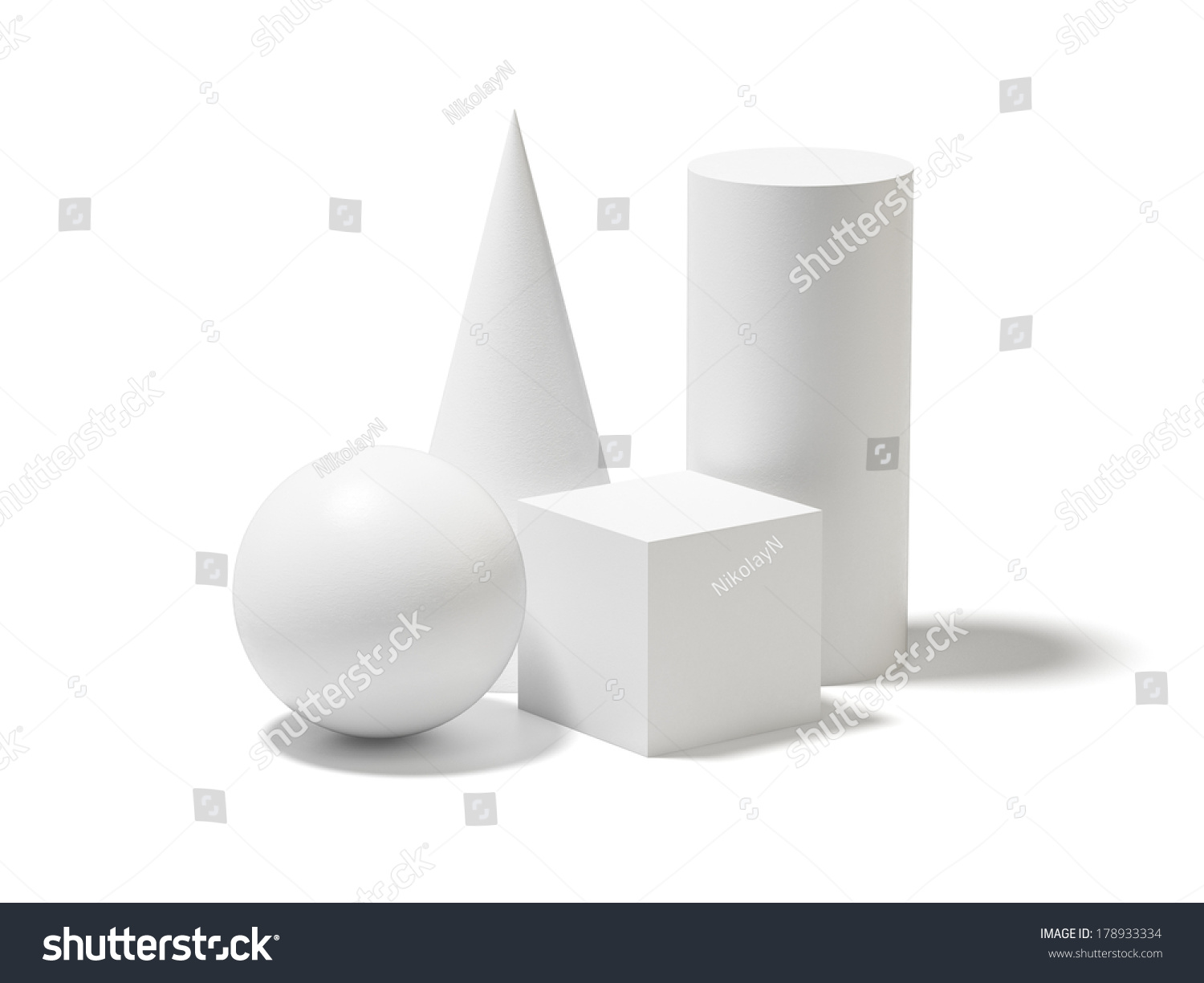 Composition Basic Geometric Shapes Ball Cube Stock
