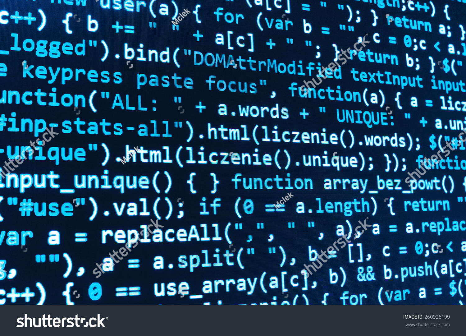 Computer Script Programming Code Abstract Screen Stock