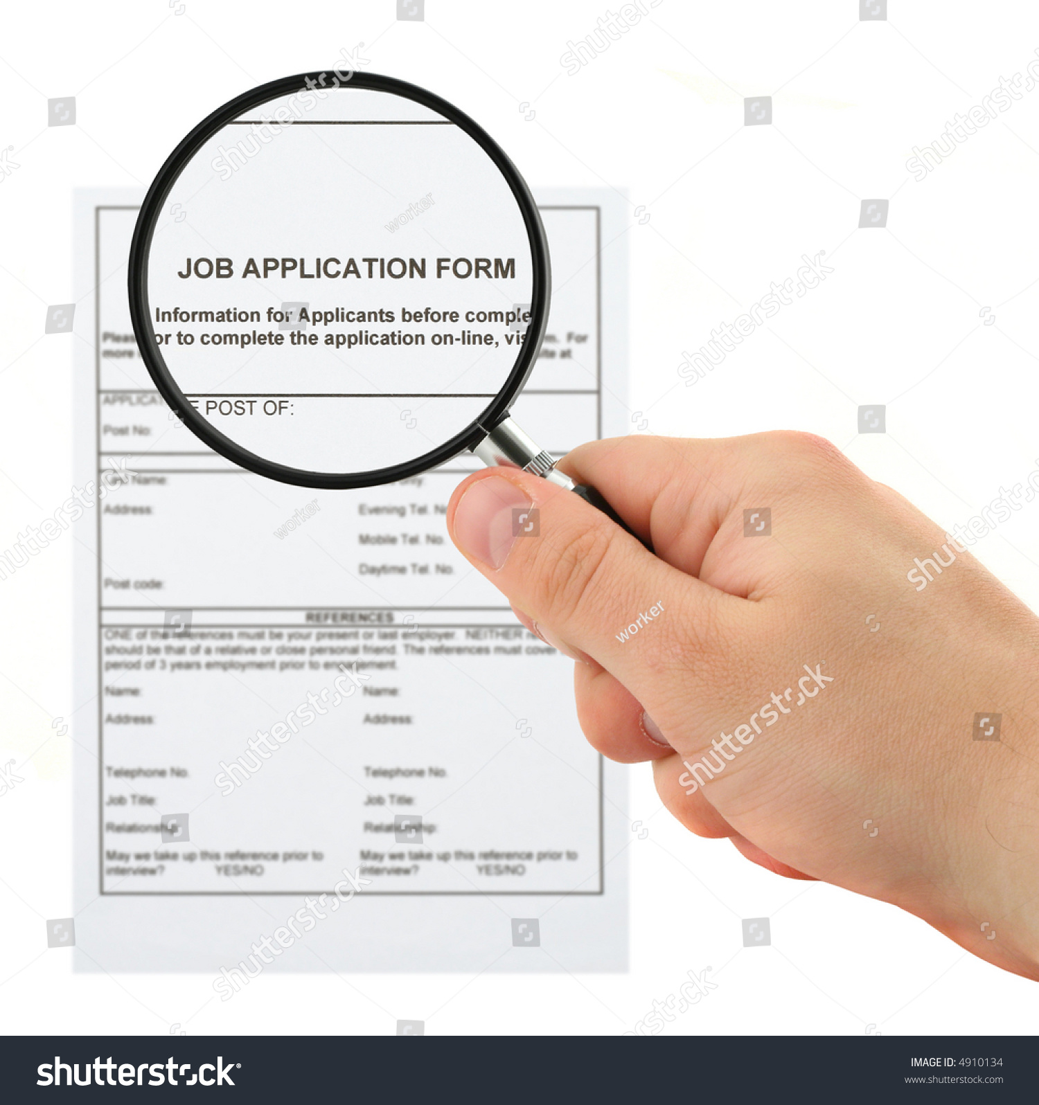 concept of searching for personnel hand with magnifying glass and