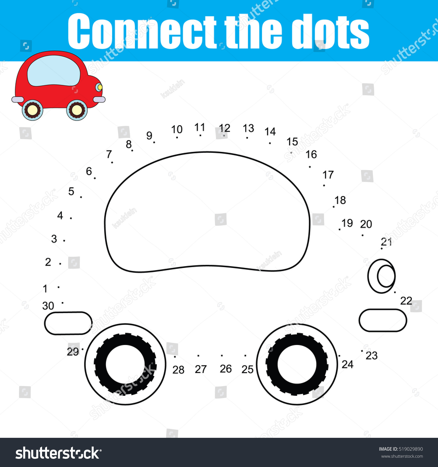 Connect Dots Children Educational Drawing Game Stock