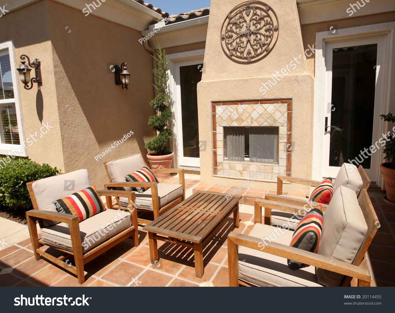 https www shutterstock com image photo contemporary outdoor patio fireplace 20114455
