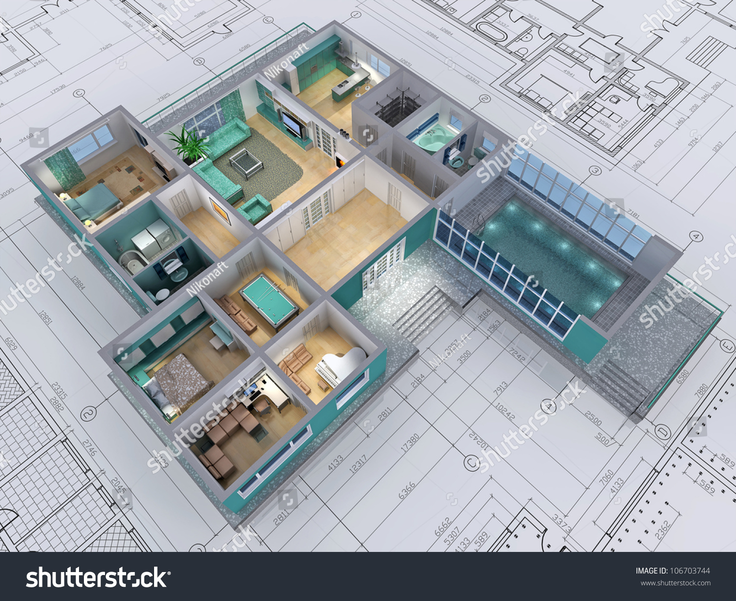 Cross Section Of Residential House 3d Image Stock Photo