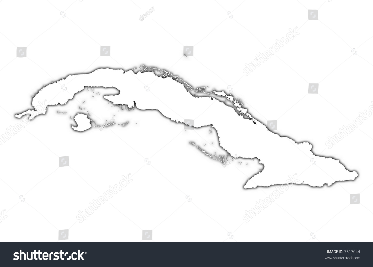 Cuba Outline Map Shadow Detailed Mercator Stock