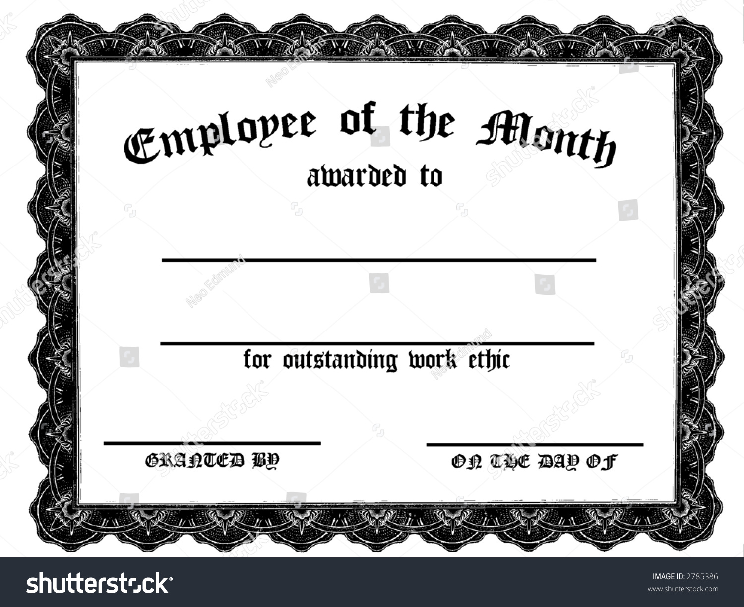 Captivating Achievement Award Wording Stock Photo Customizable Employee On The Month  Certificate 2785386 Outstanding Achievement Award Wordinghtml  Achievement Award Wording