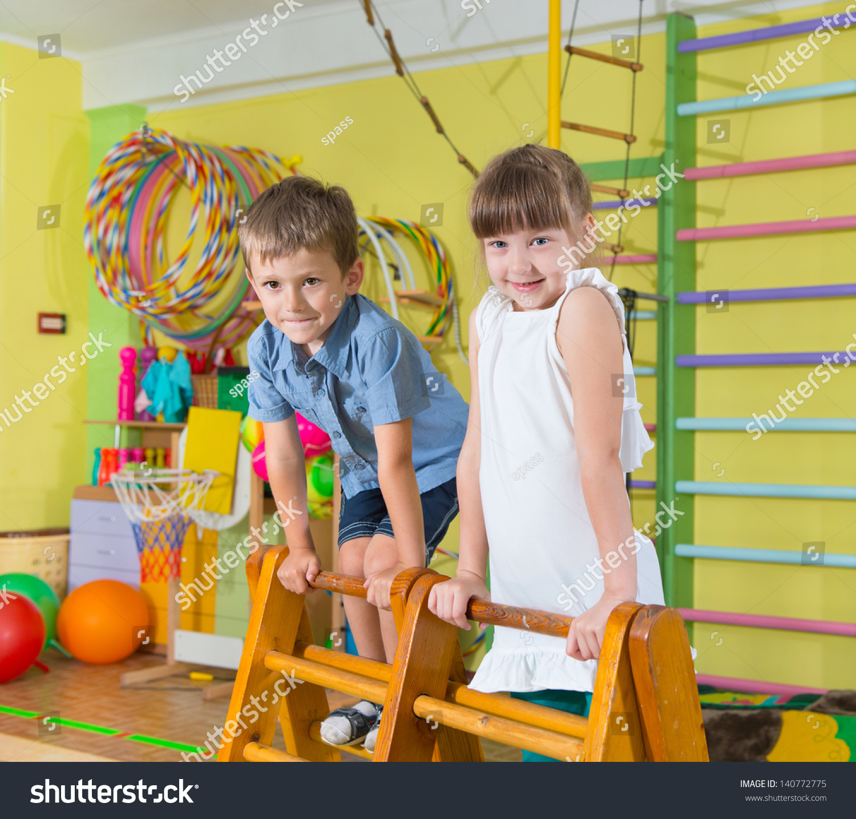 Cute Children Playing In Kindergarten Gym Stock Photo Shutterstock
