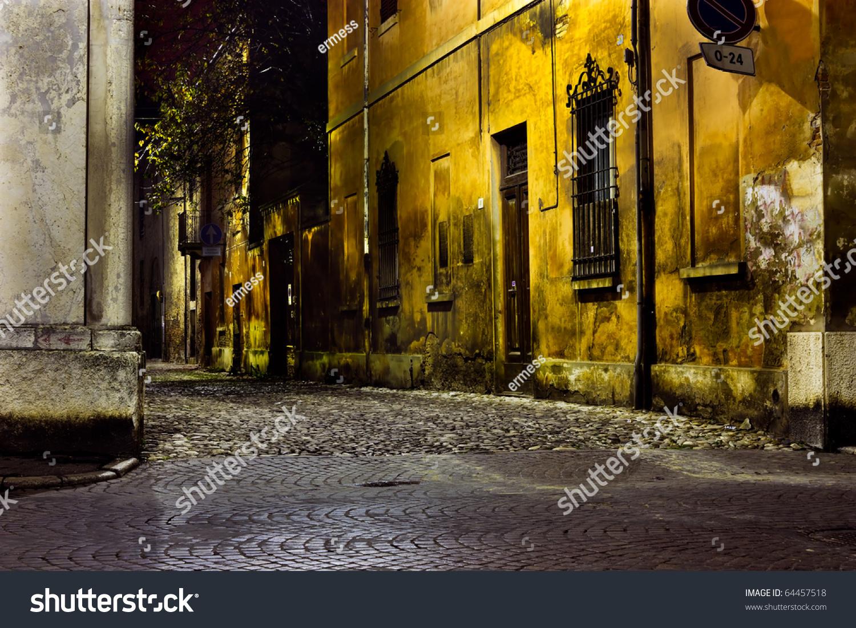 Dark Alley Night Narrow Dirty Corner Stock Photo 64457518
