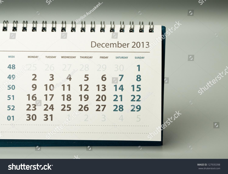 December Calendar Sheet Year Calendar Stock Photo