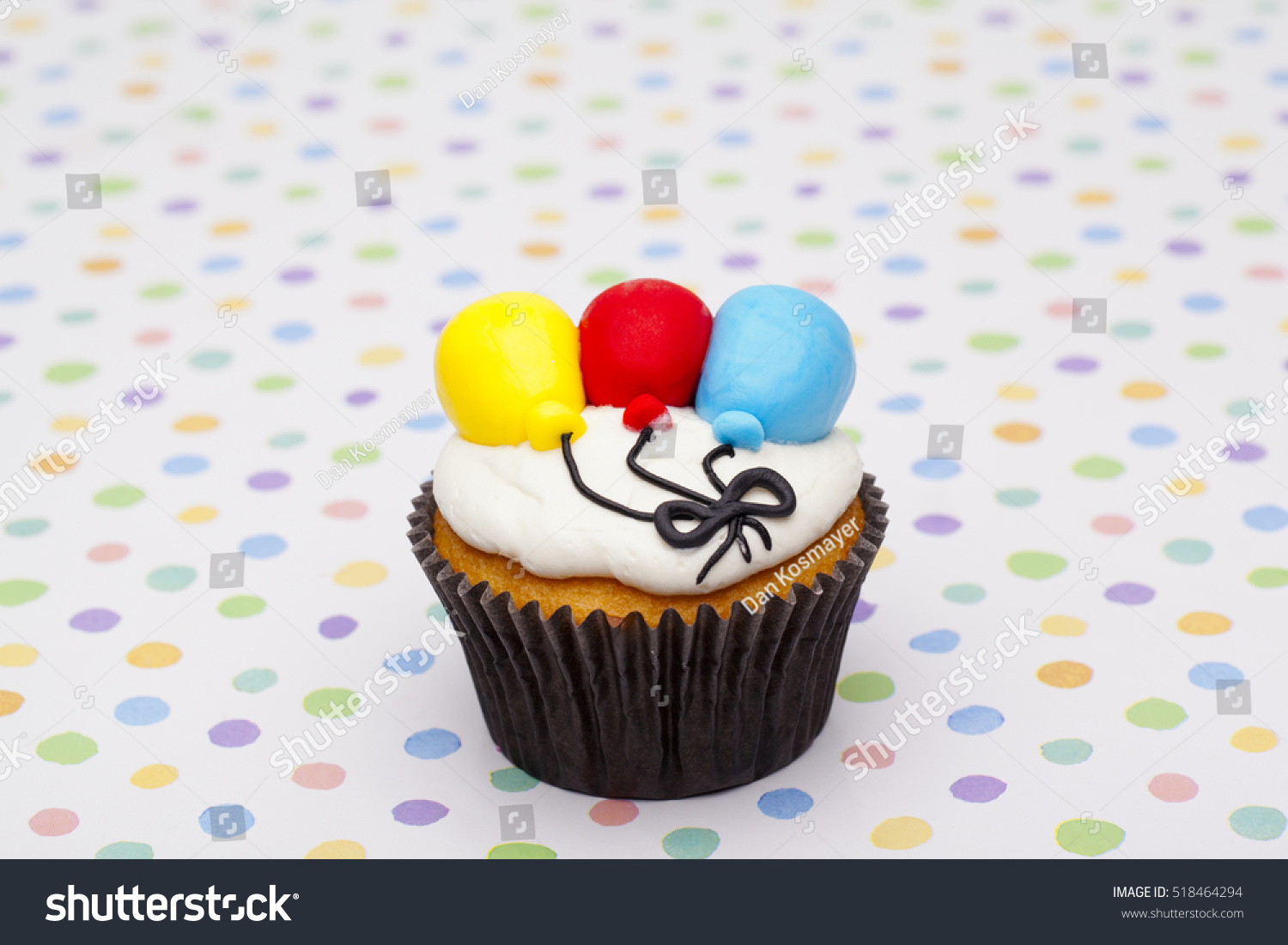 Decorated Birthday Cupcake With Cute Balloon Shaped