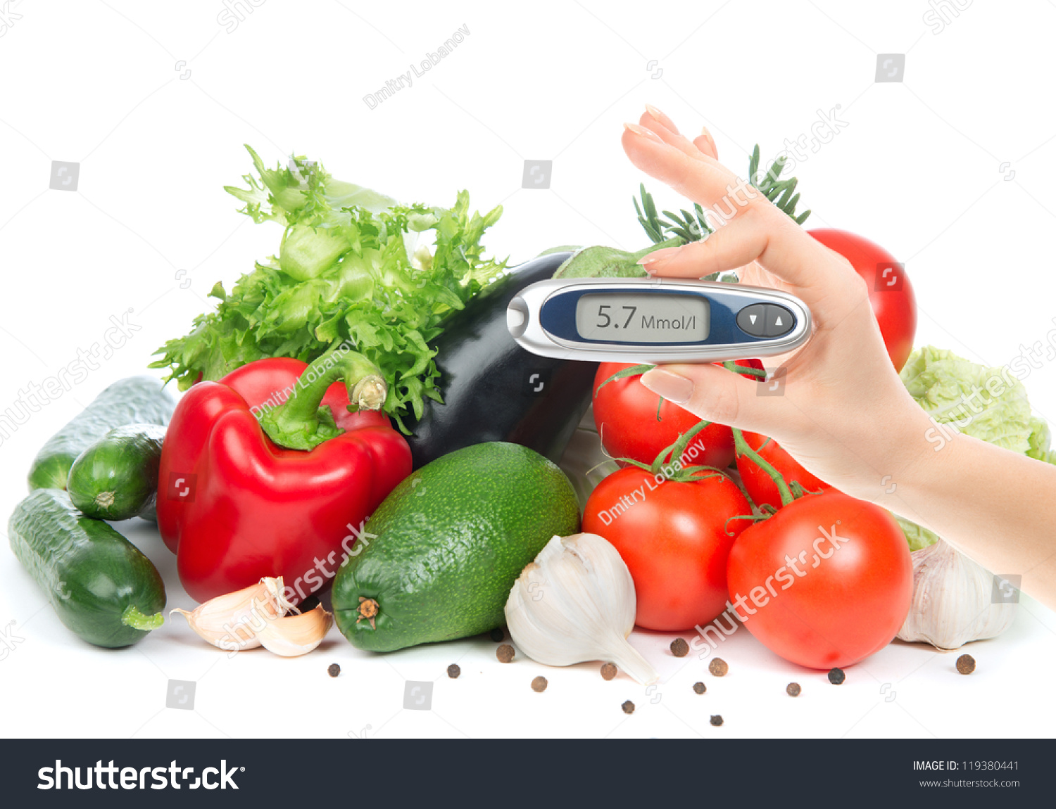 Diabetes Concept Glucometer For Glucose Level Blood Test In Hand And Healthy Organic Food On A