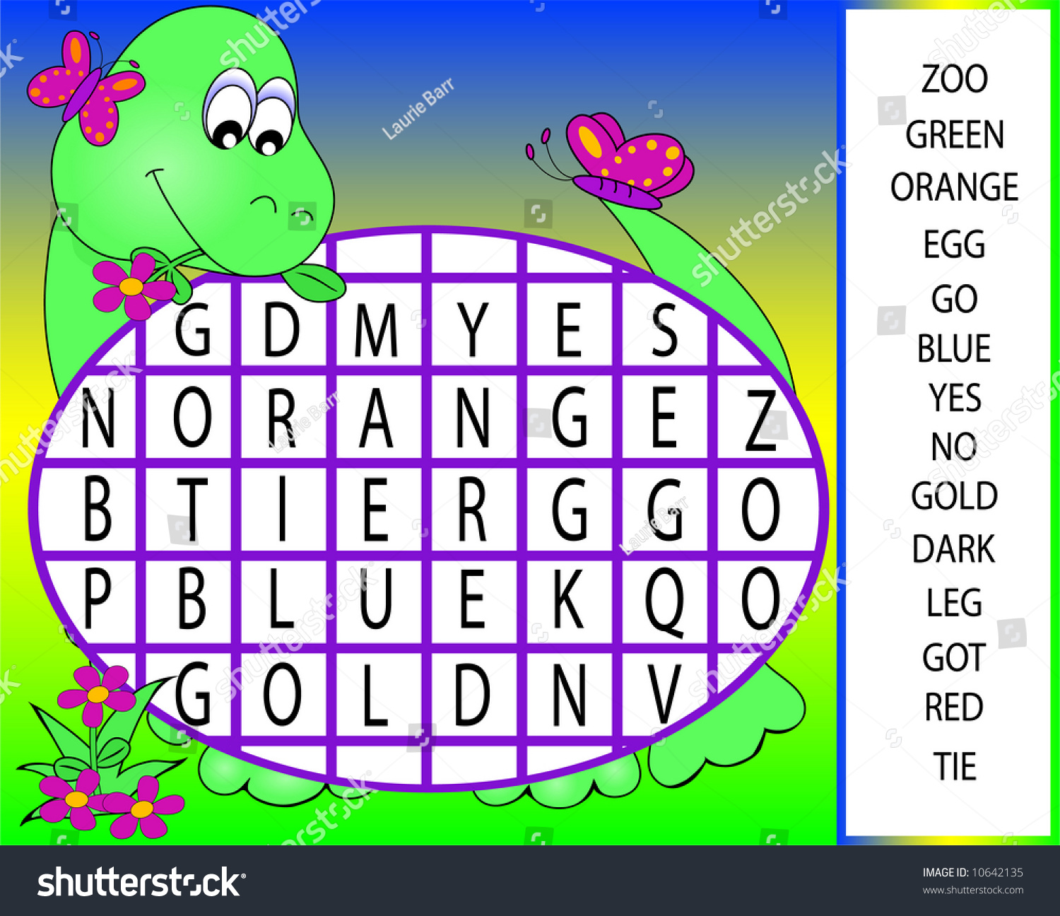 Dinosaur Word Search Puzzle Stock Photo
