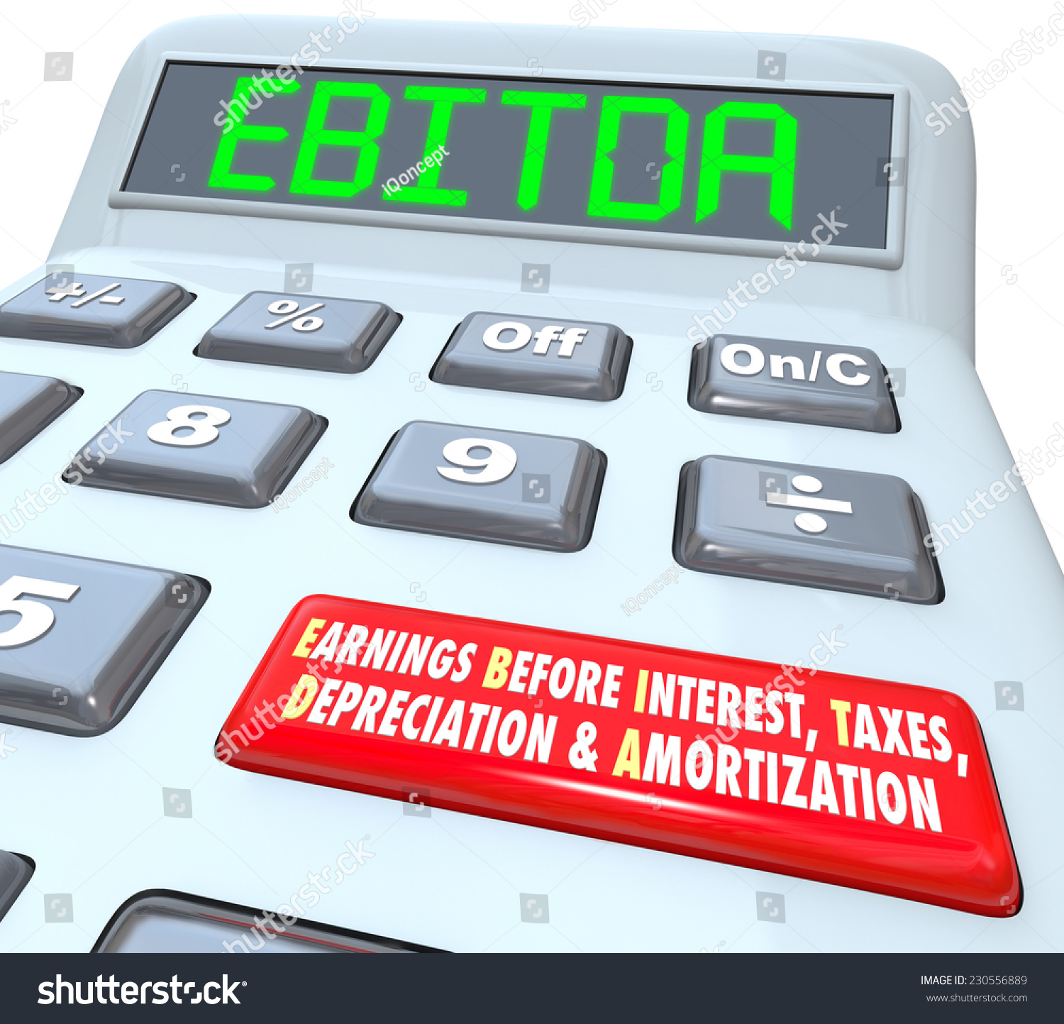 Ebitda Word Digital Letters On Calculator Stock