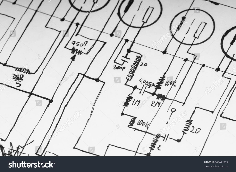 Modern circuit sketch illustration electrical diagram ideas