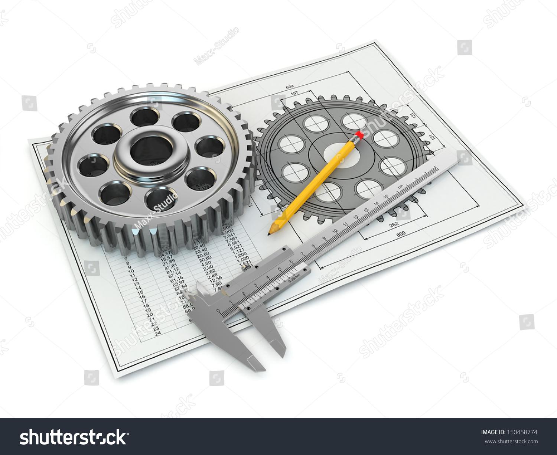 Engineering Drawing Gear Trammel Pencil Draft Stock