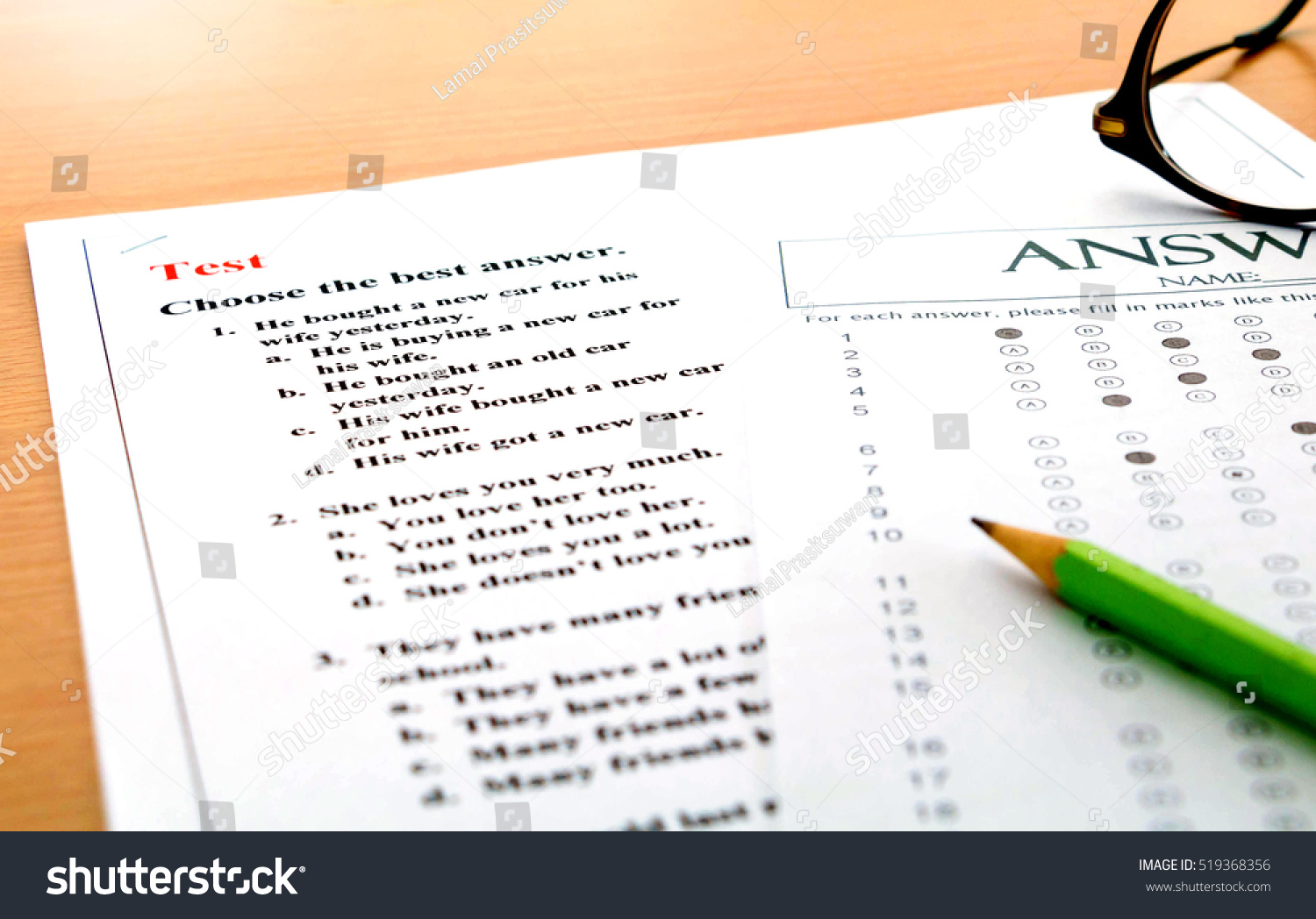 English Questions Answer Sheet On Table Stock Photo