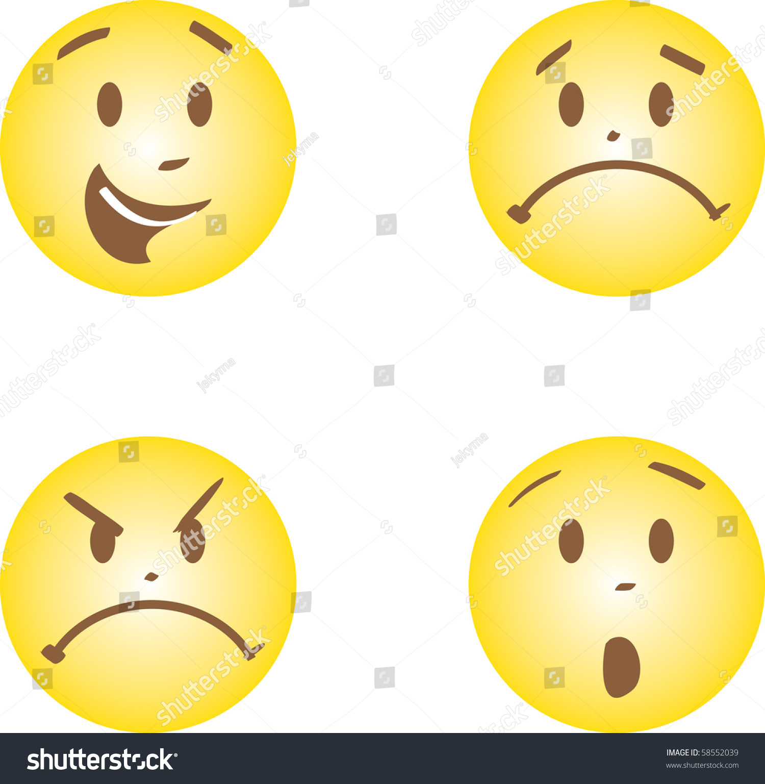 Faces Happy Anger Sad Fright Emotions Stock Illustration