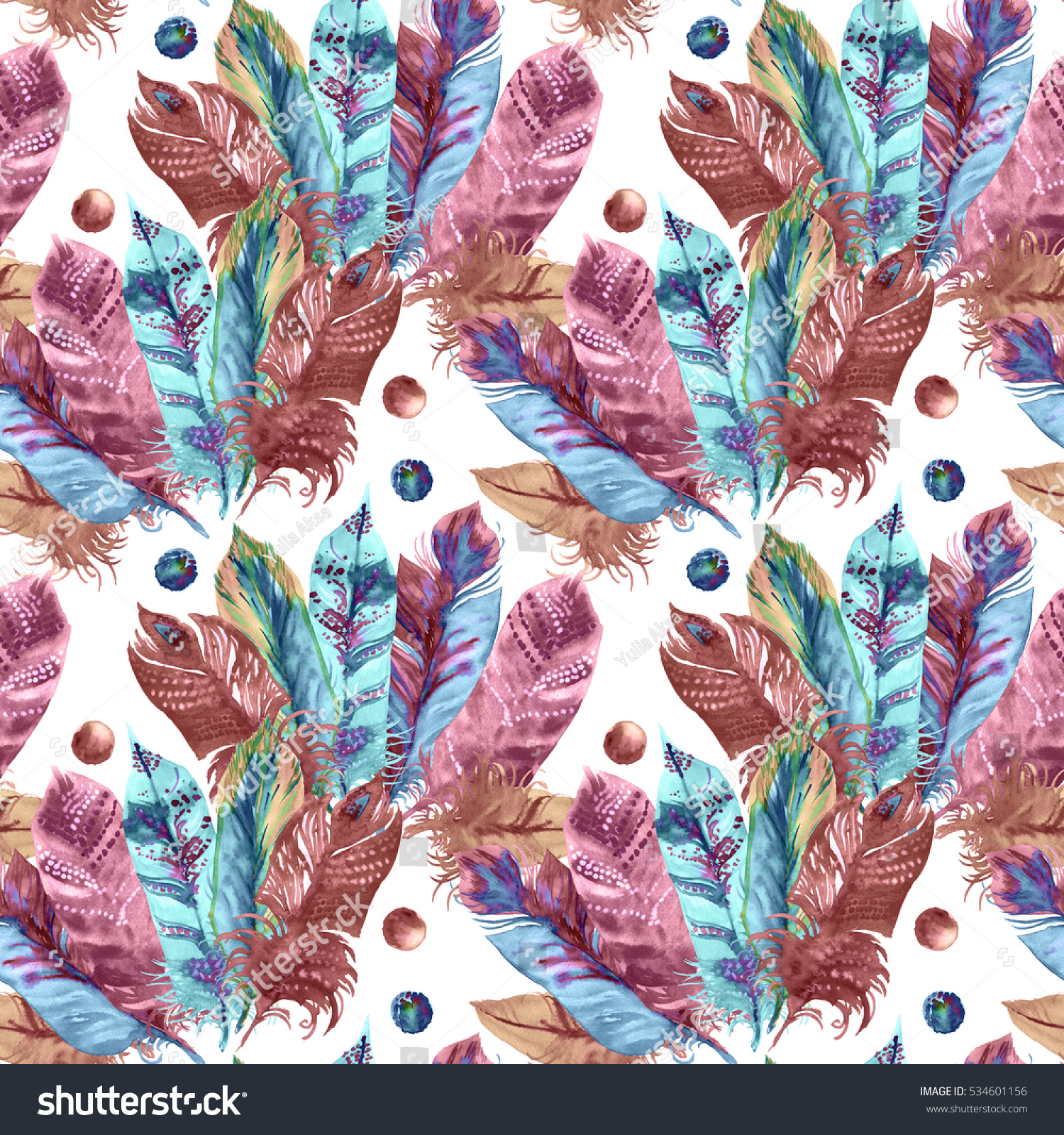 Feathers Pattern Pastel Color Pink Blue Isolated On A