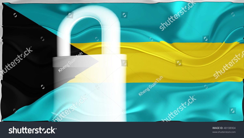 Flag Of Bahamas National Country Symbol Illustration Wavy