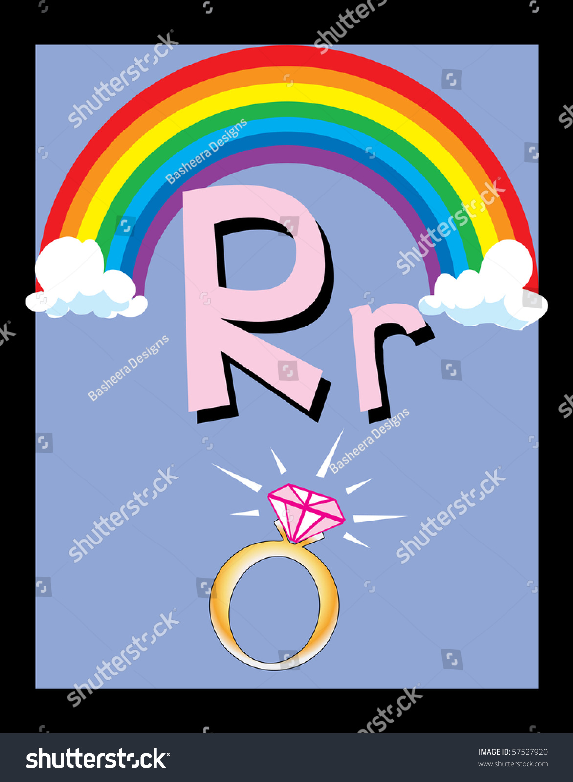 Flash Card Letter R Nouns There Stock Illustration