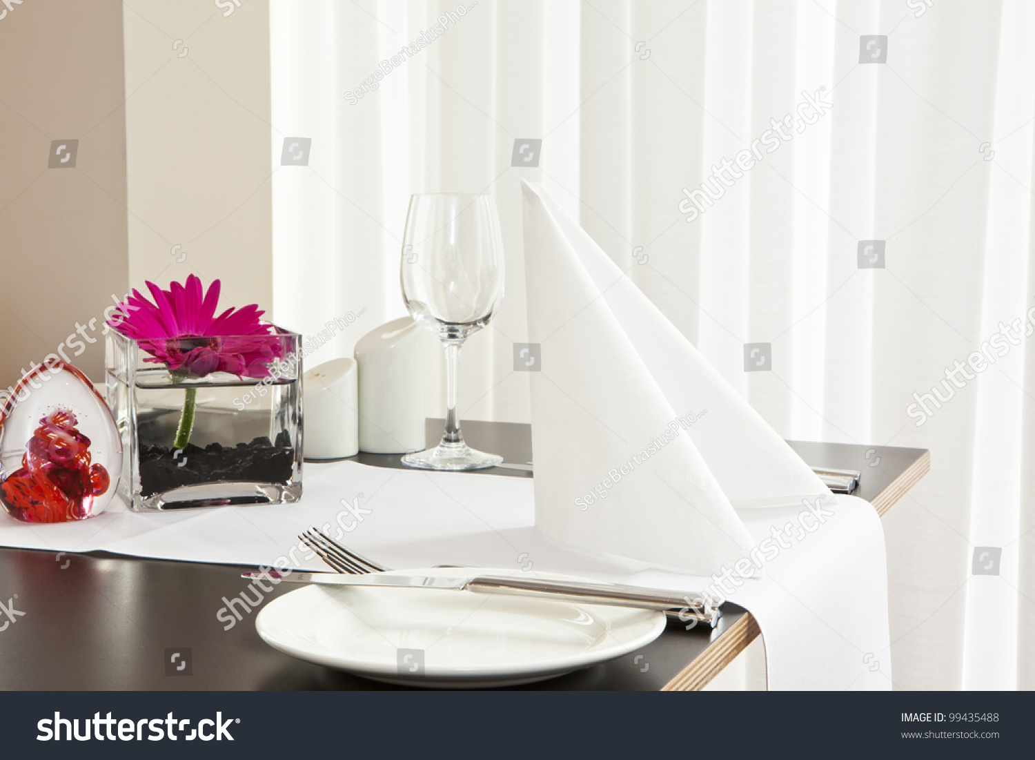Formal Dining Table Set Flower Luxury Stock Photo 99435488