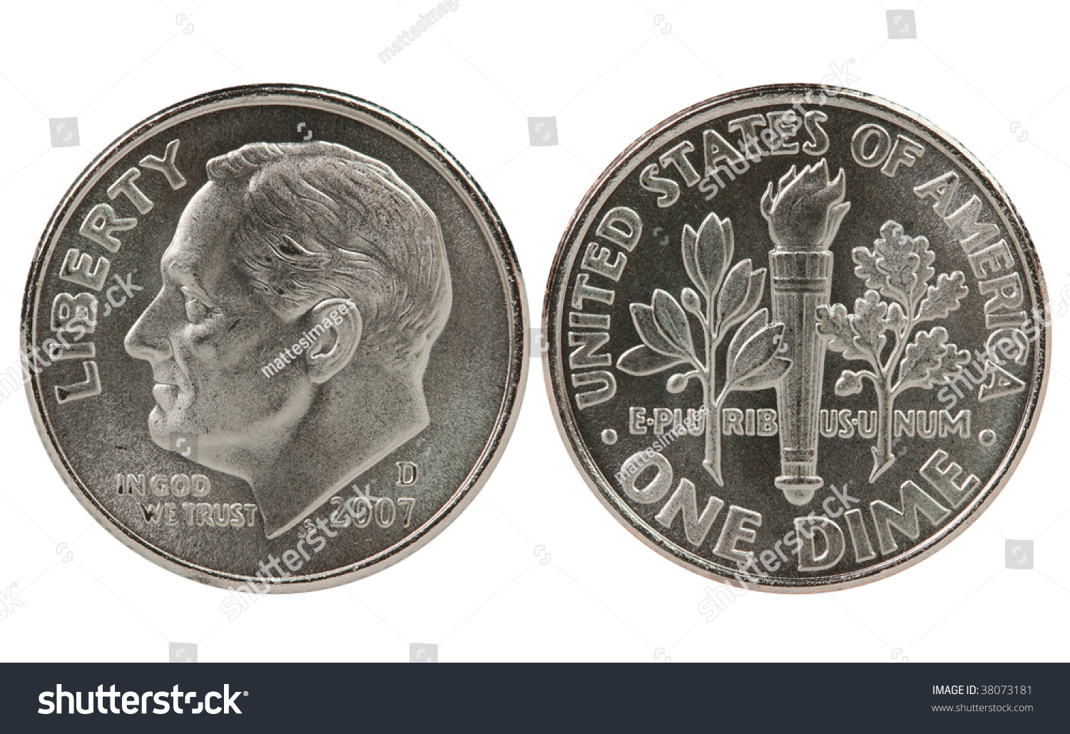 Franklin Roosevelt Dime Coin Both Sides Stock Photo