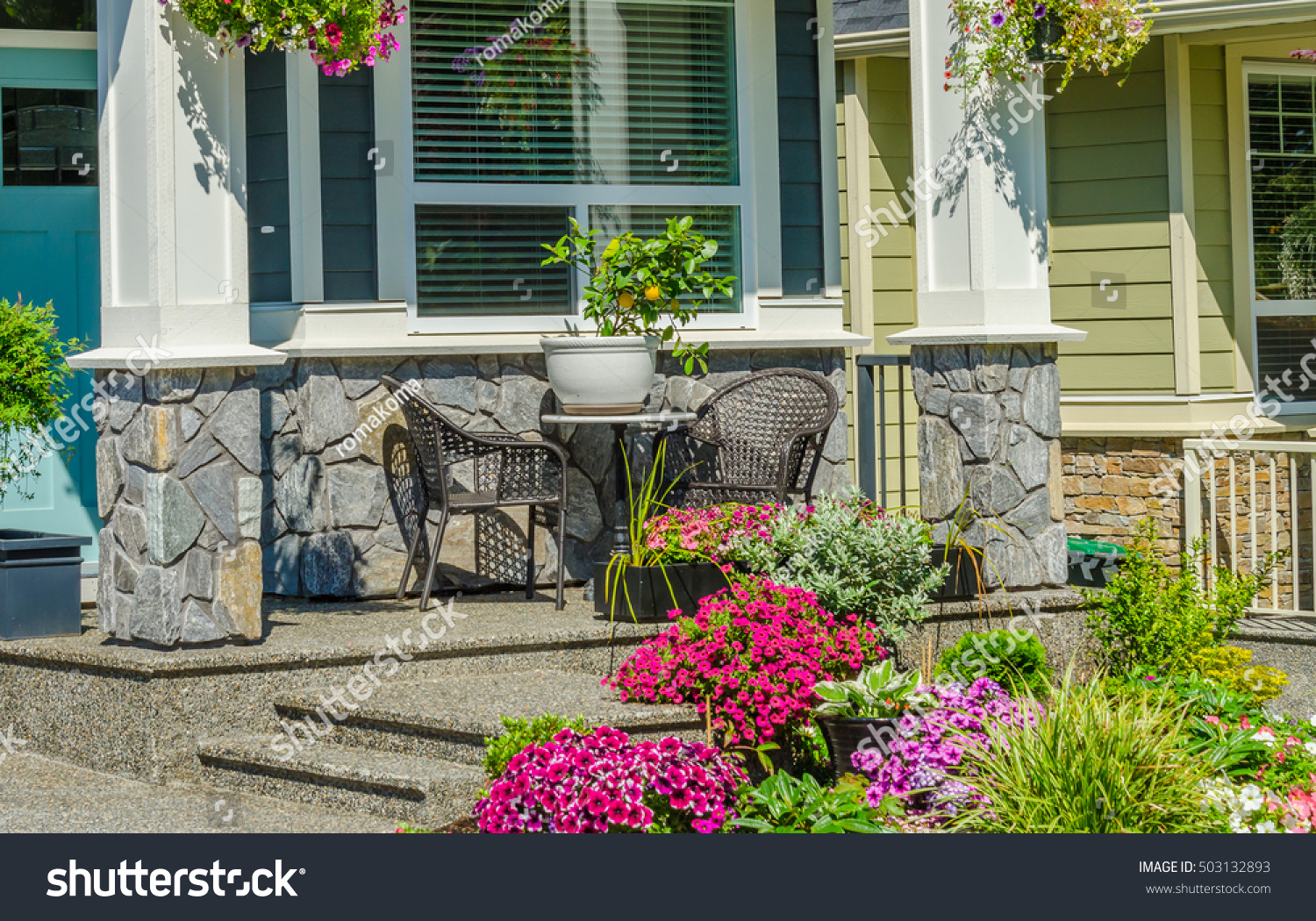 https www shutterstock com image photo garden table chairs on patio front 503132893