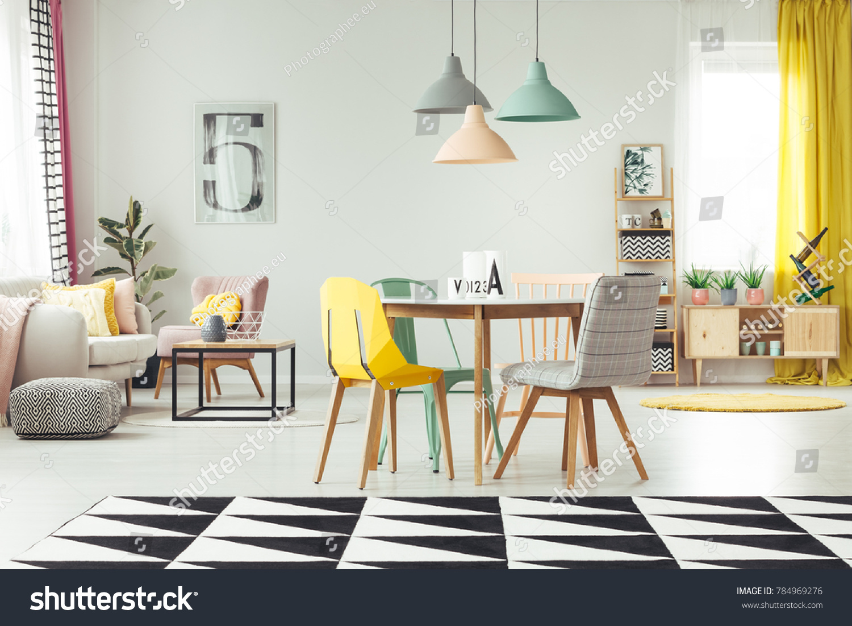 Geometric Carpet Cozy Living Room Interior Interiors Stock Image 784969276
