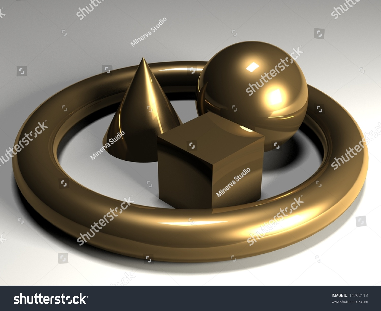 Glassy Solid Shapes Resembling A Cone A Torus A Cube And