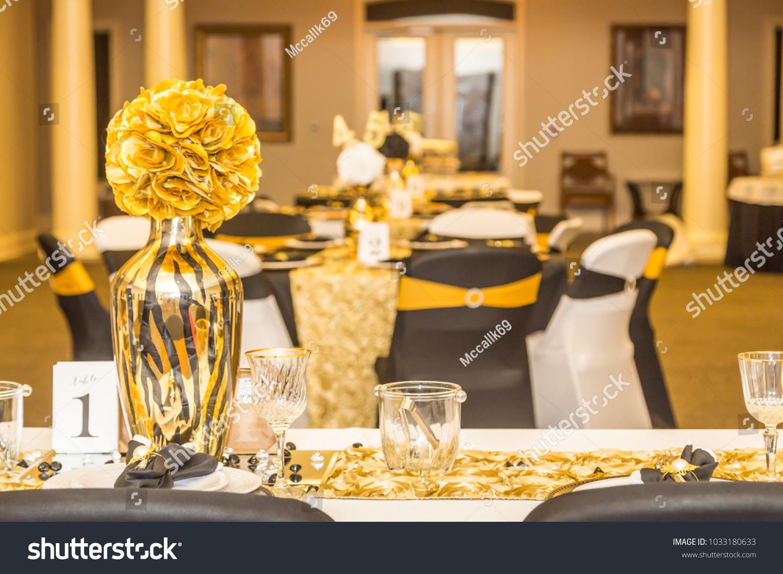https www shutterstock com image photo gold head table centerpiece black white 1033180633