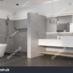 Gray Bathroom Interior Concrete Floor White Stock Illustration 679429402