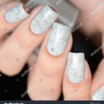 Gray Marble Manicure On Black Background Stock Photo Edit Now 722390956