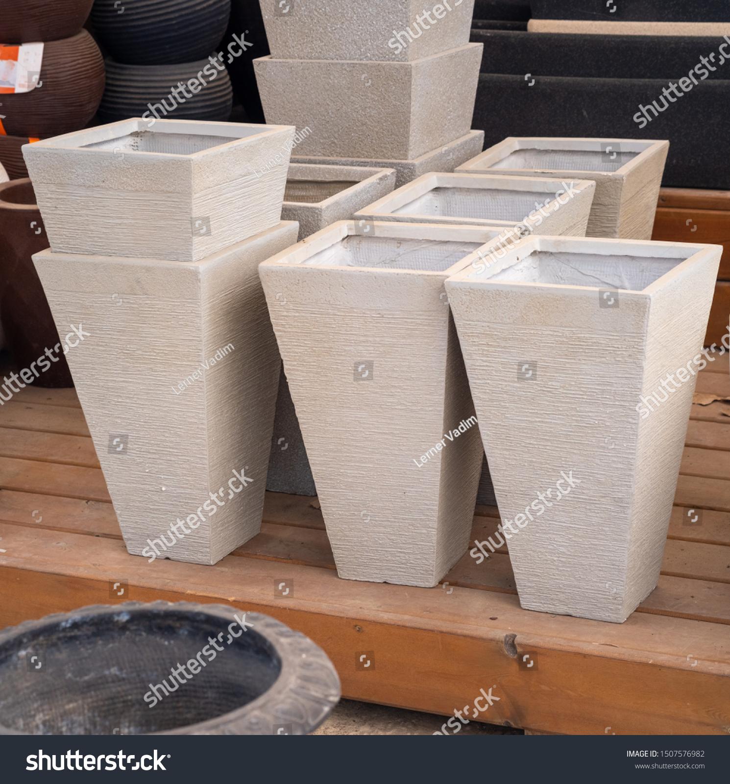 Gray Porcelain Flower Pots Sale Garden Miscellaneous Stock Image 1507576982