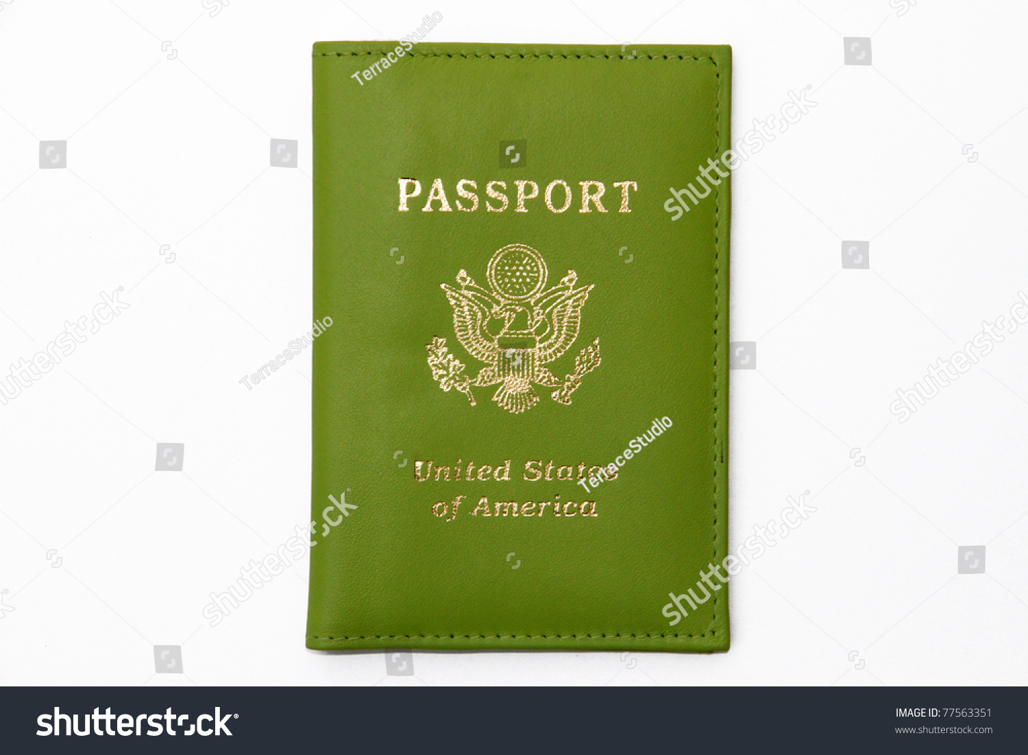 Green United States Of America Passport Stock Photo