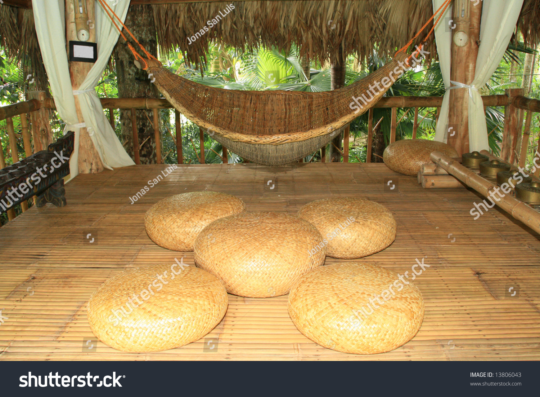 Hammock Cushions Made Native Materials Inside Stock Photo