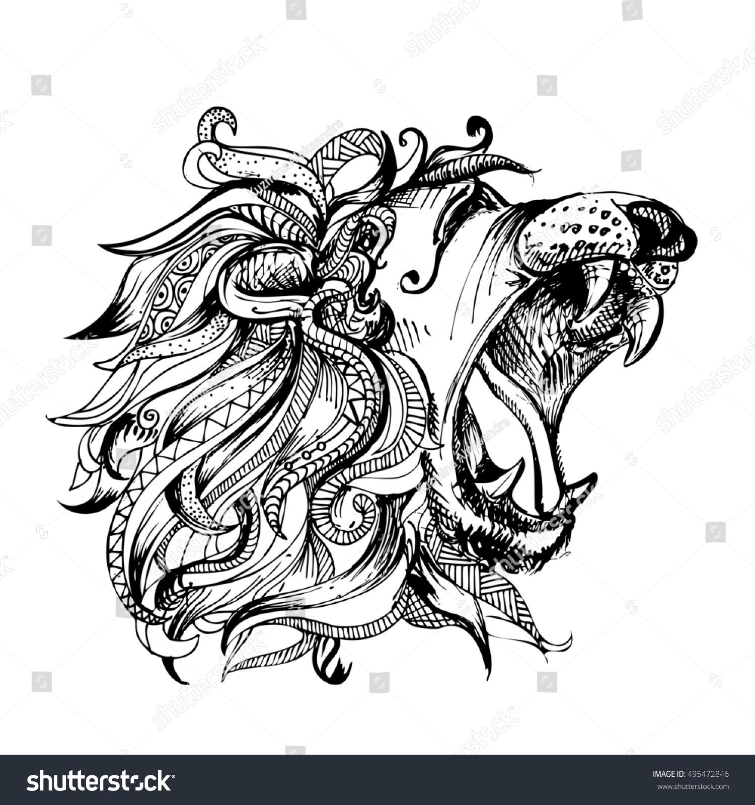 Hand Drawn Illustration Doodle Lion Open Stock