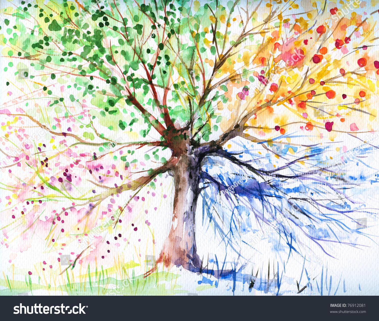 Hand Painted Illustration Four Season Treepicture Stock