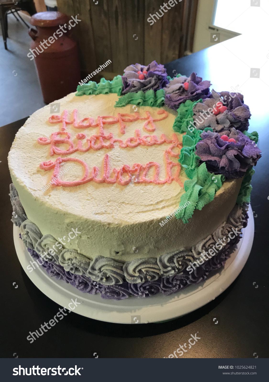 Happy Birthday Deborah Ice Cream Cake Stock Photo Edit Now 1025624821