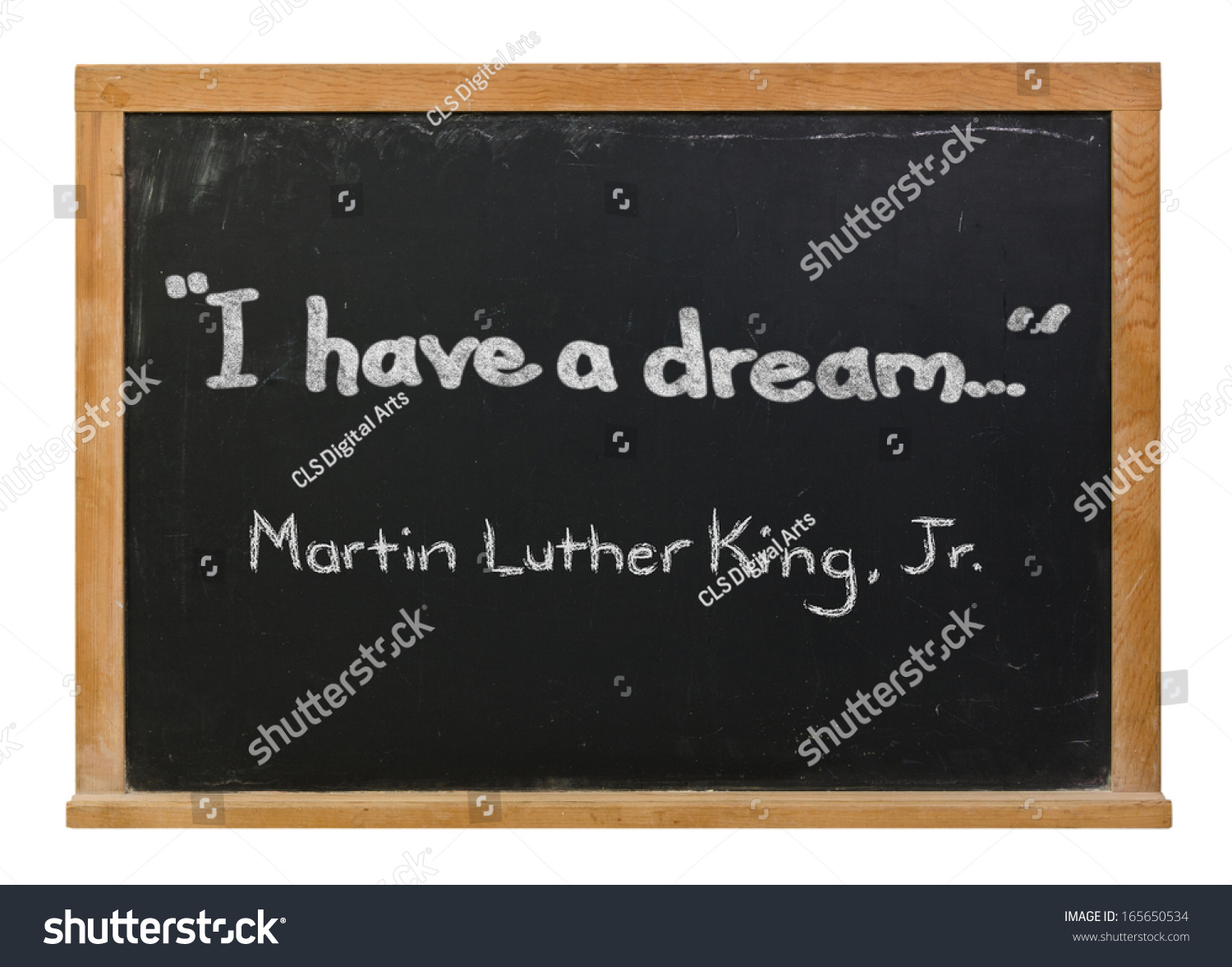 I Have A Dream And Martin Luther King Jr Written In White Chalk On A Black Chalkboard Isolated