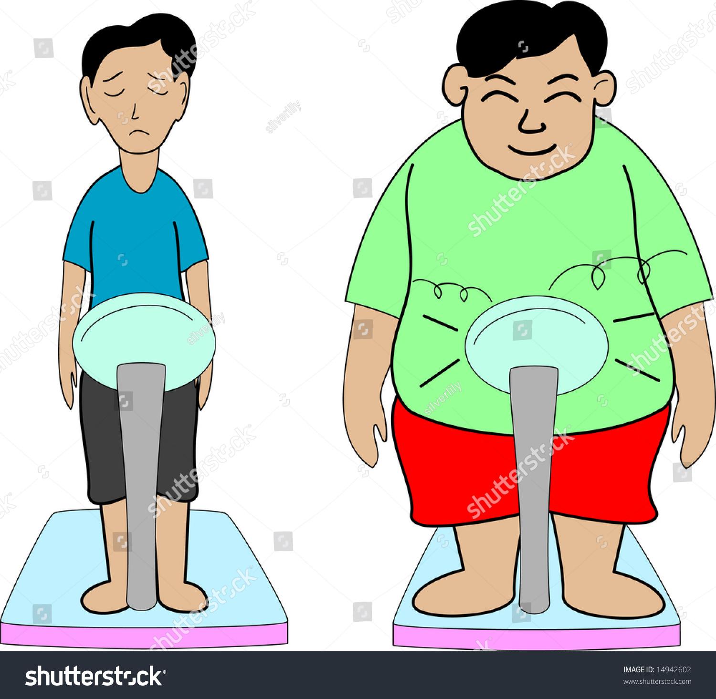Illustration Fat Thin Boys Stock Illustration