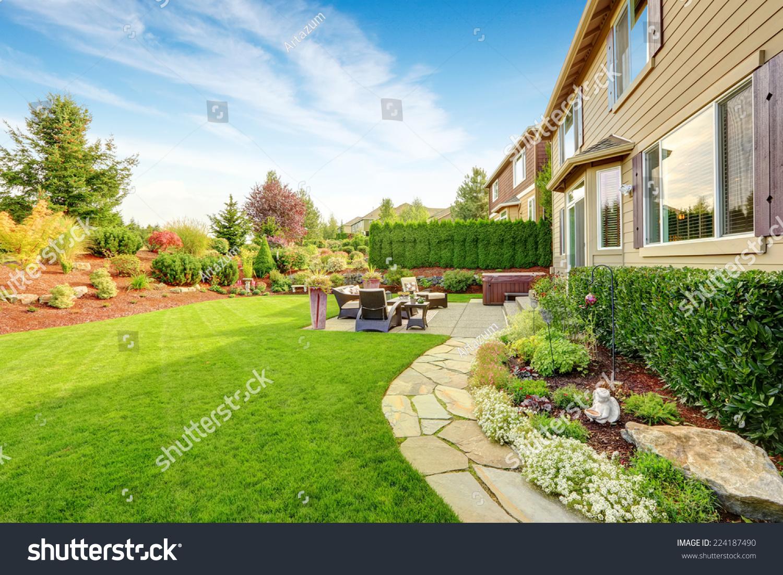 https www shutterstock com image photo impressive backyard landscape design cozy patio 224187490