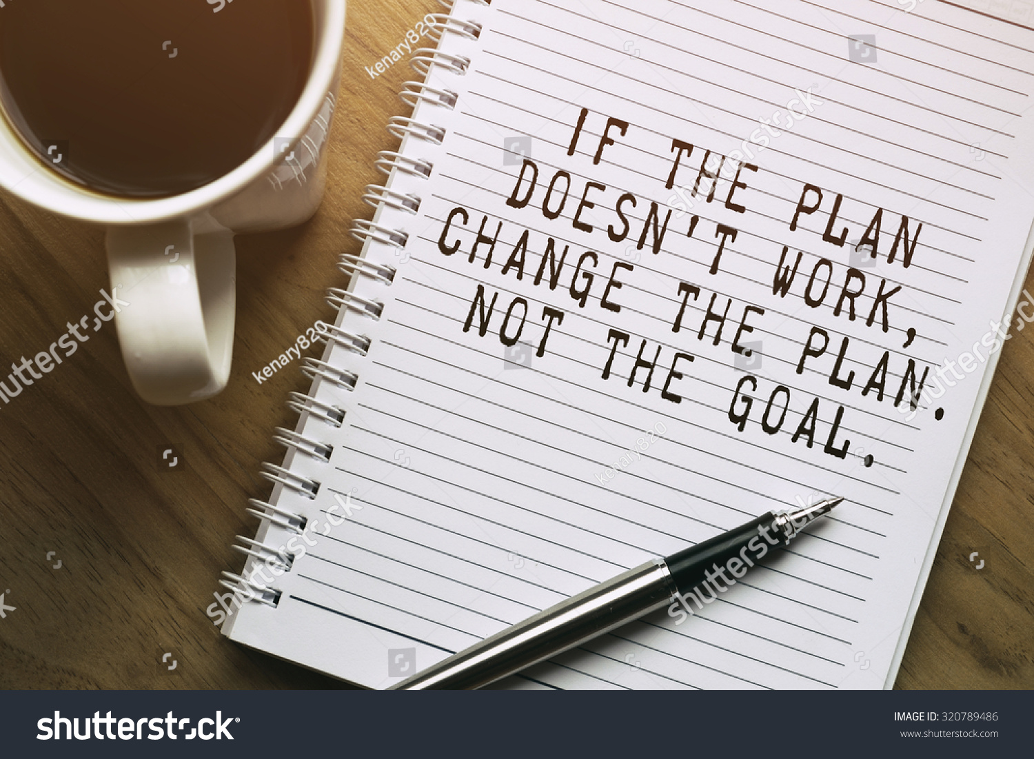 Inspirational Motivating Quote Plan Doesnt Work Stock